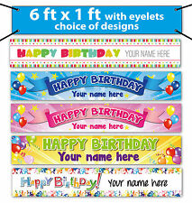 Personalised Birthday Banners - 6 x 1 ft - printed on outdoor banner material