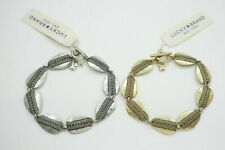 Lucky Brand Antique Gold Tone Luck Green Peace Sign Fob Key Chain Hang Tag Charm