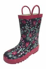 SIYA Youth Little Girls Flower Black & Pink Rain Boots w/ Mesh Lining, New, Fast