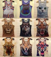 Men Women Sexy 3D Animals Print Funny T-shirt Tee Sport Gym Vest Tank Round Top