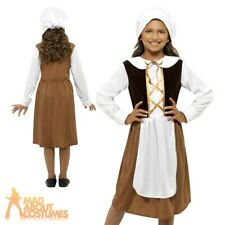 Child Tudor Girl Costume Girls Medieval Maid Fancy Dress Book Week Outfit New
