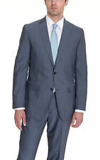 Bar III Slim Fit Solid Heather Blue Two Button Wool Blend Suit