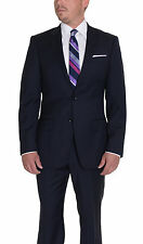 Modern Fit Navy Blue Tonal Striped Two Button Super 150's Wool Suit