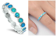 .925 Sterling Silver 4MM ROUND ETERNITY DESIGN BLUE LAB OPAL RING SIZES 4-10