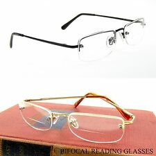 "BIFOCAL READING GLASSES Semi Rimless SPRING TEMPLE LIGHTWEIGHT ""CONFIDENCE""  NWT"
