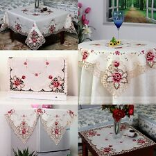 Embroidered Rose Cutwork Tablecloth Square Tea Table Cover Thanksgiving Day Gift