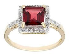 10k Yellow Gold 1.65ct Square Garnet and Pave Diamond Ring