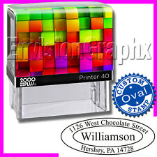 Custom Personalized OVAL ADDRESS Self Inking Rubber Stamp Rainbow Cube Theme