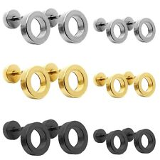 2 Fake Ear Screw Plugs Stud Stretcher Ring Tunnel 0G/000G Stainless Steel Women