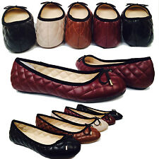 Womens Ballet Flats Quilted Pillow Stitch bow Ballerina Slip On Comfort Shoes