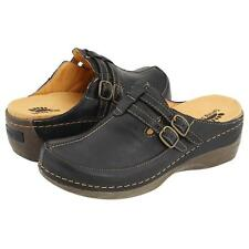 $100 NEW! WOMENS SPRING STEP HAPPY BLACK LEATHER OPEN BACK CLOGS SHOES SIZE