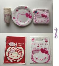 NEW Lovely Hello Kitty Birthday Party Set Plates, Napkins, Loot Bags, Cups