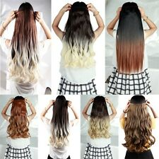 Women Long Straight Wavy Full Head 5clips Clip in on Ombre Hair Extension US ucb