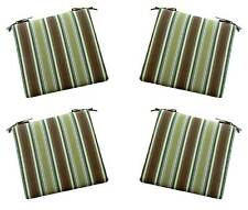 Set of 4 - Indoor / Outdoor Brown Green Teal Stripe Chair Cushions - Choose Size