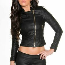 Leather Look Jacket Biker Style Slim Fit Cropped With Gold Zip - Black