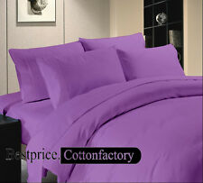 HIgh Quality Cotton 800-1000-1200TC Hotel Purple Solid - Duvet Fitted &Sheet Set