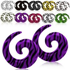 Acrylic Spiral Ear Taper Expander Stretcher Tunnel Plugs Animal Print Ø8G - 000G