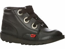 Kickers Kick Hi Largit Youth Boys Girls Black Leather Back To School Black Shoes