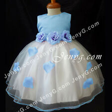 #HM51 Flower Girls/Pageant/Christening/Formal Gowns Dresses Sky Blue 0-24 Months