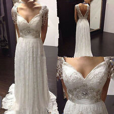 Sexy v-neck backless beaded lace bridal gown wedding dress custom made all size