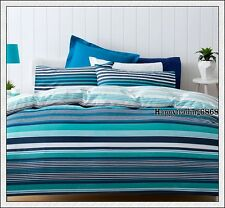 Navy Blue Turquoise White Stripe KING QUEEN DOUBLE SINGLE QUILT DOONA COVER SET