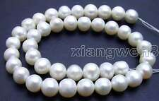 """SALE Big 12-13mm white genuine Natural Freshwater round Pearl Loose Bead 14""""-l45"""