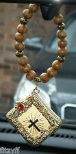In Car Hanging Wood Wooden Beads & Holy Bible Charm Religious Pendant