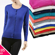 Plus Size Solid Womens 3/4 Sleeve Crew Neck Cardigan Sweater Blouse Top 1X 2X 3X