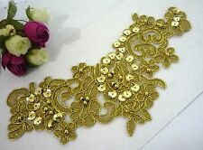 Gold Metallic Embroideries w/ Beaded & Sequin Collar Neckline Lace Patch A120