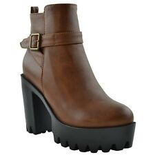 Womens Chunky Ankle Boots Lug Sole ShoesBuckles zipper closure Tan Booties