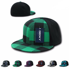 DECKY PLAID FLEX 6 PANEL FITTED TWO TONE BASEBALL CAP CAPS HAT HATS