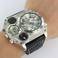 Quartz Military Stainless Steel Dial PU Leather Band Wrist Watch for Men UK