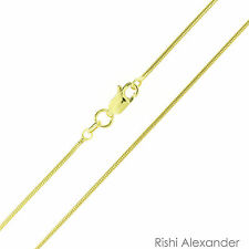 14k Gold over .925 Sterling Silver Snake Chain Vermeil 1.25mm Stamped 925