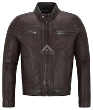 'RAGE' Men's BROWN WAX Short Bomber Biker Motorcycle Style Real Leather Jacket