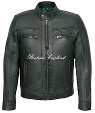'RAGE' Men's GREEN WAX Short Bomber Biker Motorcycle Style Real Leather Jacket