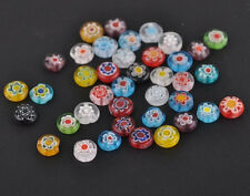 Hot 50/100pcs Mixed Millefiori Glass Flat Round Loose Spacer Bead Charm 6mm DIY
