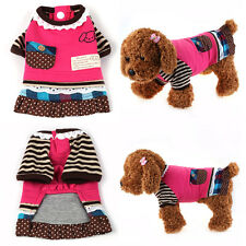 Autumn Plaid Dog Dress Dot Striped Sleeves Skirt Pet Puppy Clothes Lovely Style