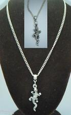 "18"" or 24 Inch Chain Necklace & Lizard Pendant Charm Reptile Gift Souvenir"