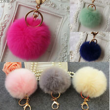 Lovely Genuine Rabbit Fur Ball Car Gold Keychain Handbag PomPom Charm Key Ring