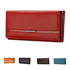 Fashion Womens Office Lady Bifold Purse Multi Color Clasp Faux Leather Wallets