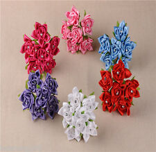 Wedding Flowers Satin Cloth Fabric 6pcs Colourfast Artificial Rhinestone Bouquet