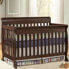 Expresso Solid Wood 4-in-1 Convertible Baby Crib with Toddler Rail Full Size Bed
