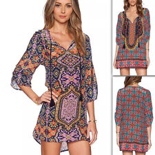Women Evening Party Retro Long Sleeve Dress Boho Ethnic Print Cocktail Casual