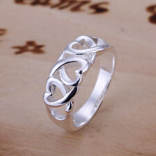 925Sterling Silver Ring Fashion Jewelry Hollow Hearts Women Ring Size 7 8 RA090