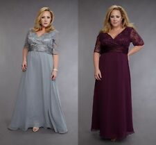 Silver Plum Mother of Bride Lace Dress Plus Size Wedding Guests Bridesmaid Dress