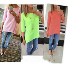New Womens Loose Pullover T Shirt Long Sleeve Cotton Top Shirt Blouse