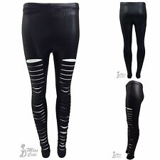 NEW WOMENS LADIES PVC PU LASER CUT RIPPED SKINNY STRETCH SEXY WET LOOK LEGGINGS