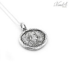 Sterling silver Ancient Coin Charm Necklace Pendant 925 Jewelry w Box chain N-62