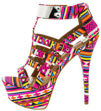 Colorful Strappy Tribal Studded Caged Stiletto Heels Platform Pumps Bootie Size