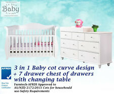 Baby Furniture Combo Set - Baby Cot 3 in 1 Premium Sleigh + 7 Chest of Drawers